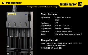 NITECORE i4 inteligentní nabíječka 4x, Li-Ion, LiFePo4, Ni-MH, Ni-Cd