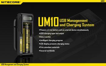 NITECORE UM10 Inteligentní nabíječ s LCD displejem a USB zdrojovým kabelem pro 1x Li-Ion,IMR