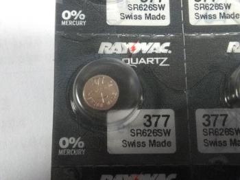 Knoflíková baterie Rayovac 377, SR66, SR626SW - Silver Oxid