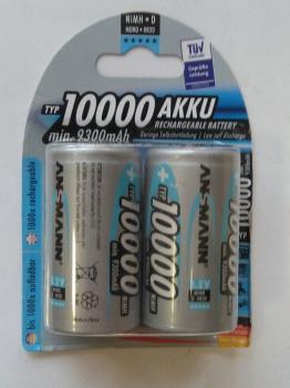 Nabíjecí baterie Ansmann velikost D (mono R20) 10000 mAh blistr 2 kusy