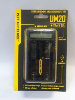 NITECORE UM20 Inteligentní nabíječ s LCD displejem a USB zdrojovým kabelem pro 2x Li-Ion,IMR