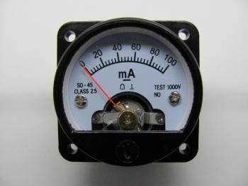 Panelový mA metr - rozsah DC 100mA - S045