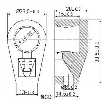 Anodová čepička pro elektronky 813, 805, 811 zlatá - MCD GP