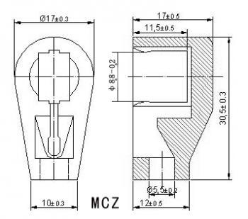 Anodová čepička pro elektronky G807 - zlatá - MCZ GP