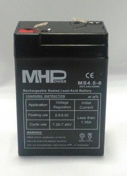 MHPower 6V 4,5Ah olověný akumulátor F1 MS4,5-6