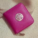 Kožená malá peněženka - tmavě růžová