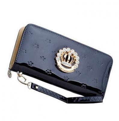 Designová lakovaná kožená peněženka - černá