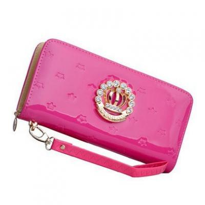 Designová lakovaná kožená peněženka - tmavě růžová