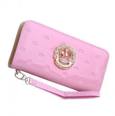 Designová lakovaná kožená peněženka - světle růžová