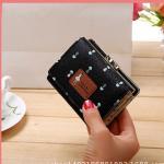 Květinová malá peněženka - černá