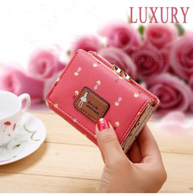 Květinová malá peněženka - růžová
