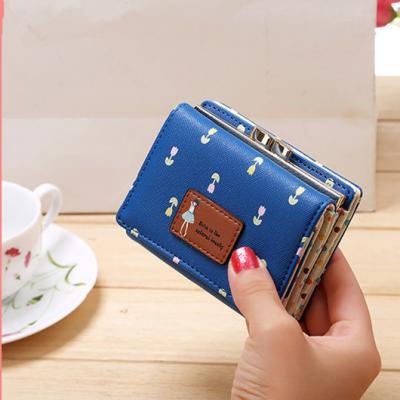 Květinová malá peněženka - modrá