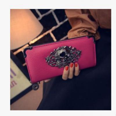Punková koženková peněženka s lebkou - růžová