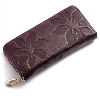 Kožená elegantní peněženka - vínová