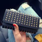 Punková koženková peněženka - černá