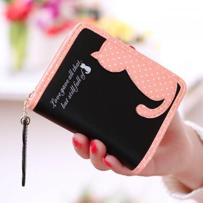 Malá peněženka s kočkami - černá