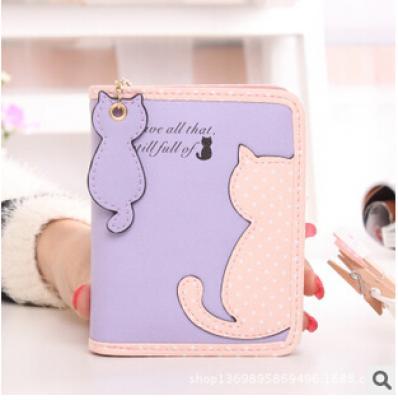 Malá peněženka s kočkami - fialová