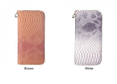 Elegantní koženková peněženka - šedá/bílá