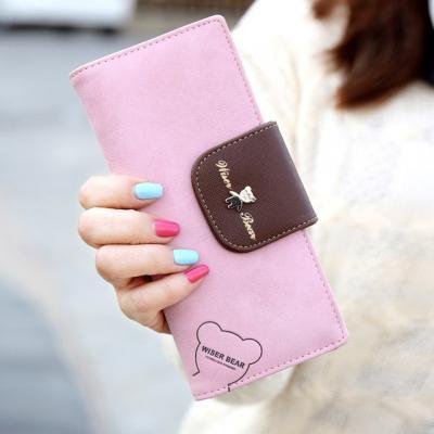 Dlouhá koženková peněženka - růžová