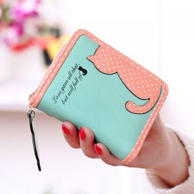 Malá peněženka s kočkami - zelená