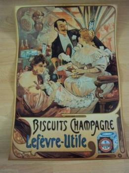 Plakát Mucha biscuits champagne