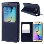 Koženkový obal na Samsung Galaxy S6 Edge - modrý